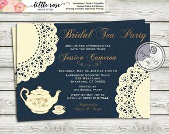 High Tea Invitation Tea Party Bridal Shower Invitation - Tea Party Invite - Bridal Luncheon - Printable Invitation - Digital File - LR1002