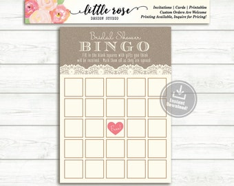 Bridal Shower Bingo Game - Burlap and Lace Printable - Bridal Shower Games - Printable Bingo Card - Wedding - Instant Download - LR1000