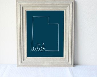 Printable Utah State Art Print 8x10 Digital Wall Art Gift