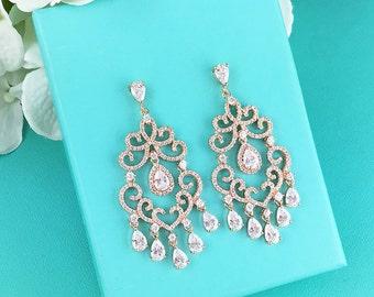 Rose Gold Chandelier Wedding Earrings, CZ Dangle earrings, Cubic Zirconia, bridal jewelry, wedding earrings, bridal earrings