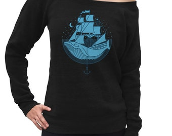 Whale Ship Scoop Neck Sweatshirt - Illustration Nature Night Ocean Nautical Marine Beach- Off the Shoulder