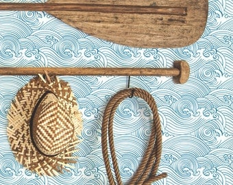 Waves Removable Wallpaper / Traditional or Self Adhesive Wallpaper / Nautical Wall Mural L014