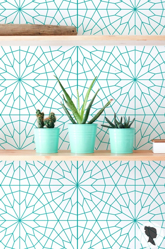 Geometric Removable Wallpaper  Self Adhesive or Traditional