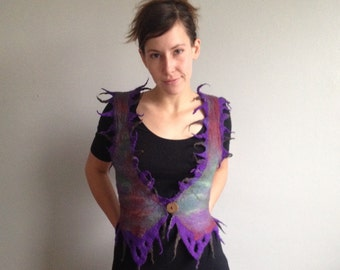 Nuno felted vest made from merino and handpainted silk