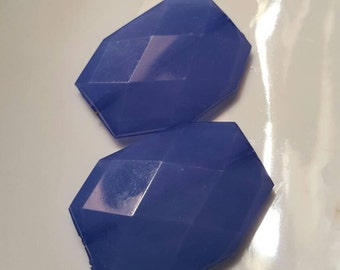 Beautiful Blue Deming Faceted Nugget Bead 35 x 24mm 2pcs