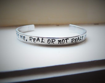 You love me, real or not real? Real, Hand Stamped Aluminium Cuff Bracelet