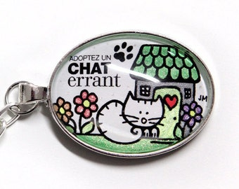 Key support for the cause of stray cats from Montreal, lime green, bright Chat, help a cause