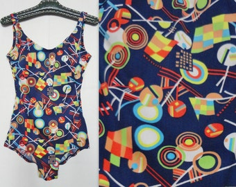 Multicolored 70s Vintage Swimsuit // Size 42 // Made In Denmark