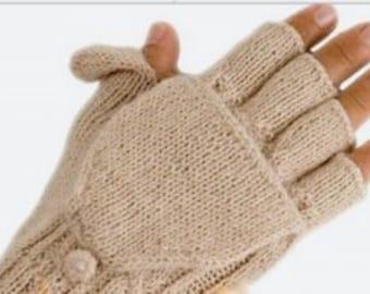 100 Percent Alpaca Hand-Knit Glittens, Hooded Gloves for Women, Teens,  Fingerless, Texting Alpaca gloves, Holiday Gift, Christmas, Hanukkah