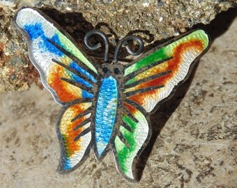 Fuentes ~ Vintage Sterling and Enamel Colorful Butterfly Pin / Brooch