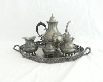 8 pcs Vintage pewter coffee set - C. Kurz Edeltin Tiel - Holland