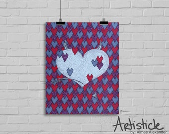 Heart Artwork - Valentines Day Art - Pink Red Print - Geometric Decor - Gift For Her - Love Art - Devil Drawing - Horns and Tail - Grey Art