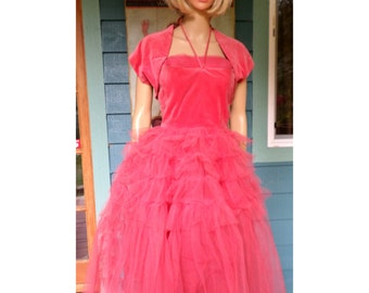 Vintage 50's Salmon/Pink Prom/Formal Halter Dress W/ Velveteen Bodice Layered Tuille Skirt Cup Cake W/ Matching Velveteen Shrug  Size XS