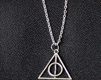Harry Potter Deathly Hallow Silver Symbol Fantasy Gothic Vintage Necklace