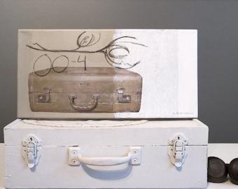 Original artwork, mixed media on canevas, Old beige suitcase, 8 x 16 inches