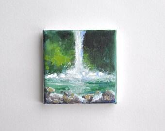 original acrylic painting, waterfall painting, small painting, tiny painting, 4x4 painting, acrylics on canvas, mini art