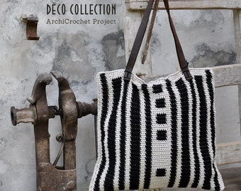Shopper bag, tote bag leather handles, handmade shopping cotton bag, italian handbag geometric design