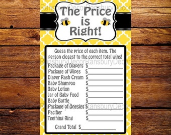 The Price is Right - Baby Shower Game - Bee Theme - Baby Sprinkle - Printable - Digital Download - Mommy to Bee - Bee Party