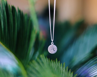 Dainty Hand Stamped Wave Necklace