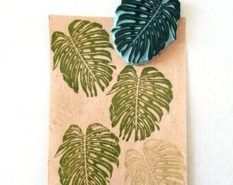 Monstera Leaf,  rubber stamp, tropical leaf, hand carved stamp