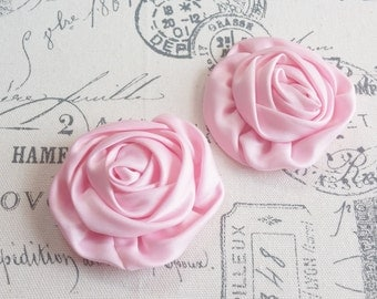 """Pink 3"""" Rolled Satin Silky Flowers - 2 pcs - Headband, Hair Clip, Sewing, Scrapbook Embellishments"""