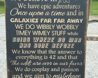"""Custom Carved Wooden Sign - """"In This House We Believe In Magic,  We Do GEEK"""" - 20""""x13"""""""