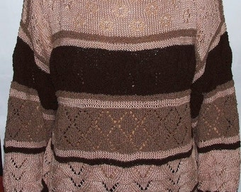 Women's knitted openwork sweater / Hand knitted yarn sweater Oversize Wool Handmade Brown&Cream Stripes/large jumper wool blend / L Pullover