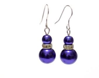 plum pearl earrings, pearl earrings, plum earrings, dangle earrings, earrings, bridesmaid earrings, drop earrings