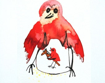 Toilet art, red decor, original drawing, red bird art, pen and ink