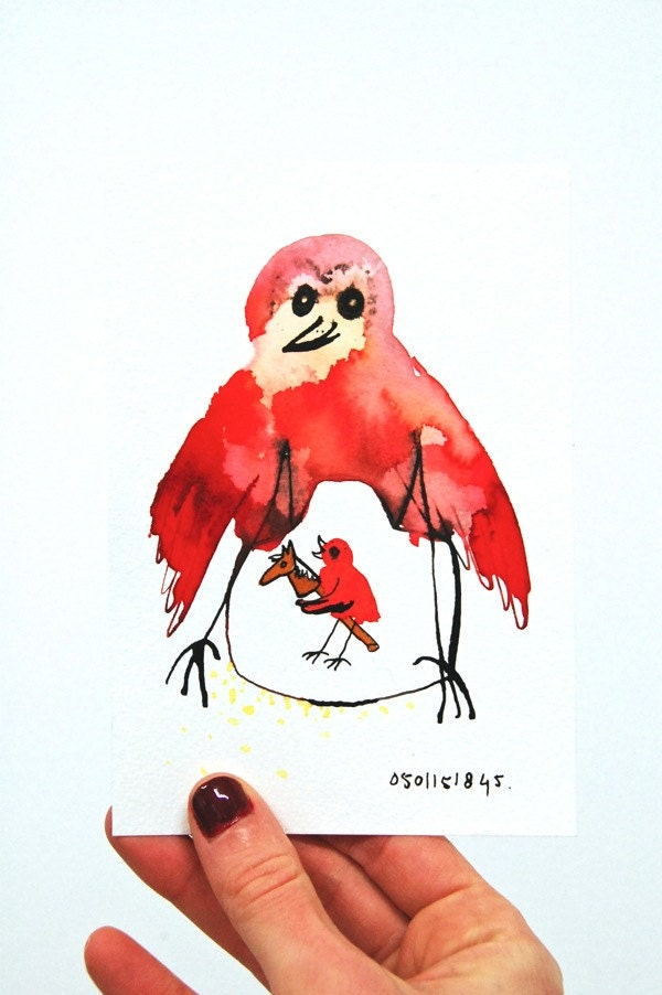 Toiletdecoratie originele tekening vogel rood pen en inkt - Originele toiletdecoratie ...