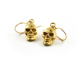 Gold skull earrings, gothic earrings, occult earrings, gothic jewelry, harley davidson jewelry