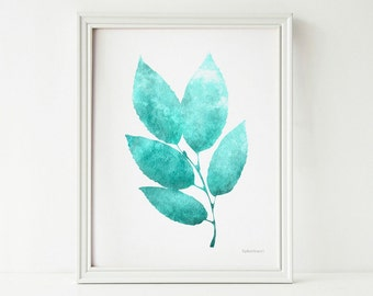 Digital art print Teal decor Nature art print, PRINTABLE wall art print Bathroom wall decor, Leaves art print Bedroom decor, Teal home decor