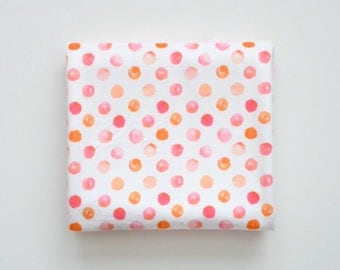 Baby Toddler Modern Fitted Minky Crib Sheet - Pink and Orange Watercolor Polka Dots