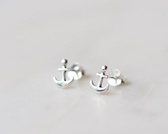 Sterling Silver Anchor Stud Earrings, Anchor earring, tiny stud earring, Dainty earrings, Simple Earrings, Anchor Earrings, Nautical Jewelry