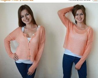 SALE 25% Open back sweater Knit cardigan Mohair cardigan Womens sweaters Coral sweater Womens sweaters Boho top Knit blouse Soft Warm