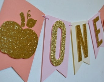 Blush Pink Gold Glitter / Girls Pumpkin Highchair Banner / 1st Birthday Party / Fall Birthday Decor /Rustic Fall Party Decor  Photo Prop