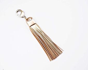 Gold Genuine Leather and Brass Tassel Keychain