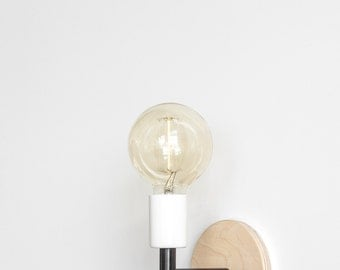 AP Wall Sconce - Matte Black / White & Finished Plywood