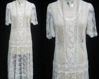 Vintage 80s Sheer LACE DRESS 20s Flapper Style GATSBY Look Wedding Bohemian Festival Hippie  Bust 40""