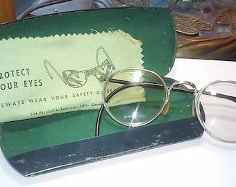 Vintage Bausch & Lomb Ful Vue Safety Glasses 23 Clear Lenses Steampunk~Vintage Motorcycle ~ 1960's Vintage Safety Glasses ~ Hipster Glasses