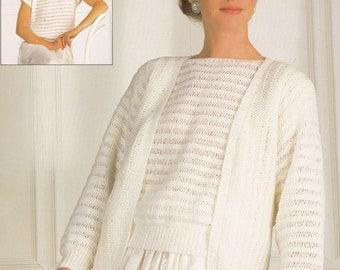 Vintage knitting pattern short sleeve sweater matching bolero style cardigan pdf INSTANT download pattern only pdf
