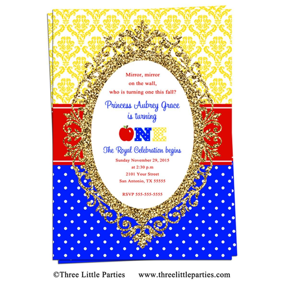 Faux Glitter Snow White Invitation Snow White Birthday