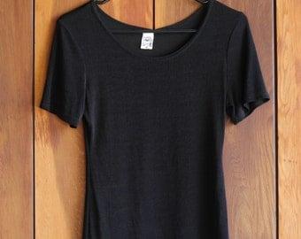 90s Black Short Sleeve Scoop Neck Top