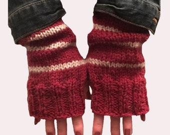 Handmade Red Fingerless Gloves Sleeve Extensions Fingerless Mittens Arm Warmers