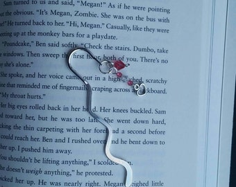 Silver beaded bookmark-Pink/Heart