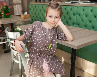 Girls brown dress, dress with pockets, long sleeve dress, cotton dress, dress with buttons, romantic dress, ocasion dress