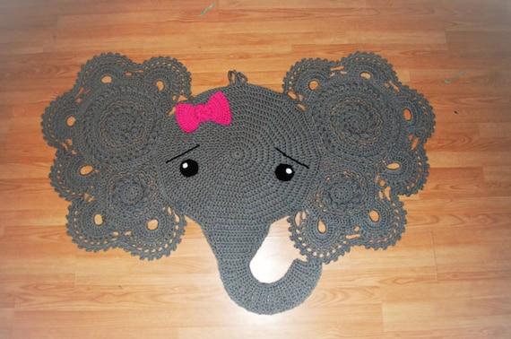 Elephant Rug, Elephant Crochet Rug, Girl Elephant Crochet Rug, Large ...