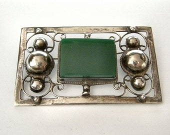 Vintage 1930's Mexico Sterling Silver & Green Onyx Pin