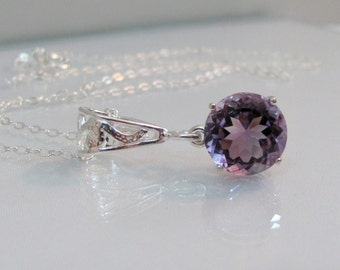 Amethyst Necklace in Sterling Silver, 11mm African Amethyst Gemstone, February Birthstone Pendant, Round Faceted Amethyst, Wedding Jewelry