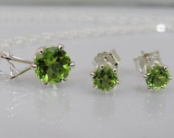 Peridot Necklace and Earring Set, Peridot Jewelry Set, Sterling Silver, Peridot Gemstone, August Birthstone Gift, Stud Earrings, Wedding